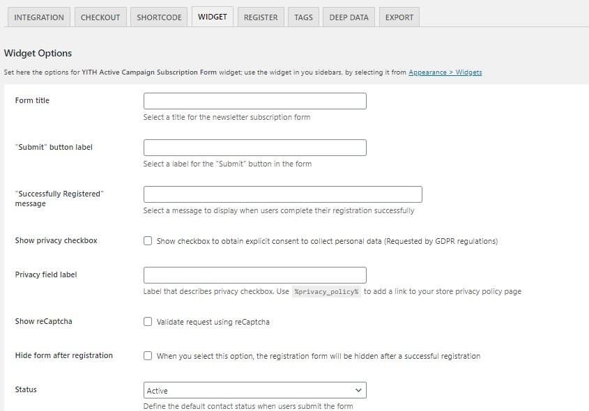 Active Campaign widget options