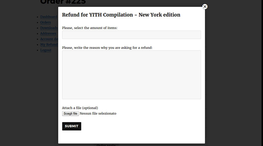 Refund request form