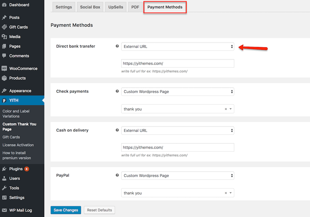 payment methods settings