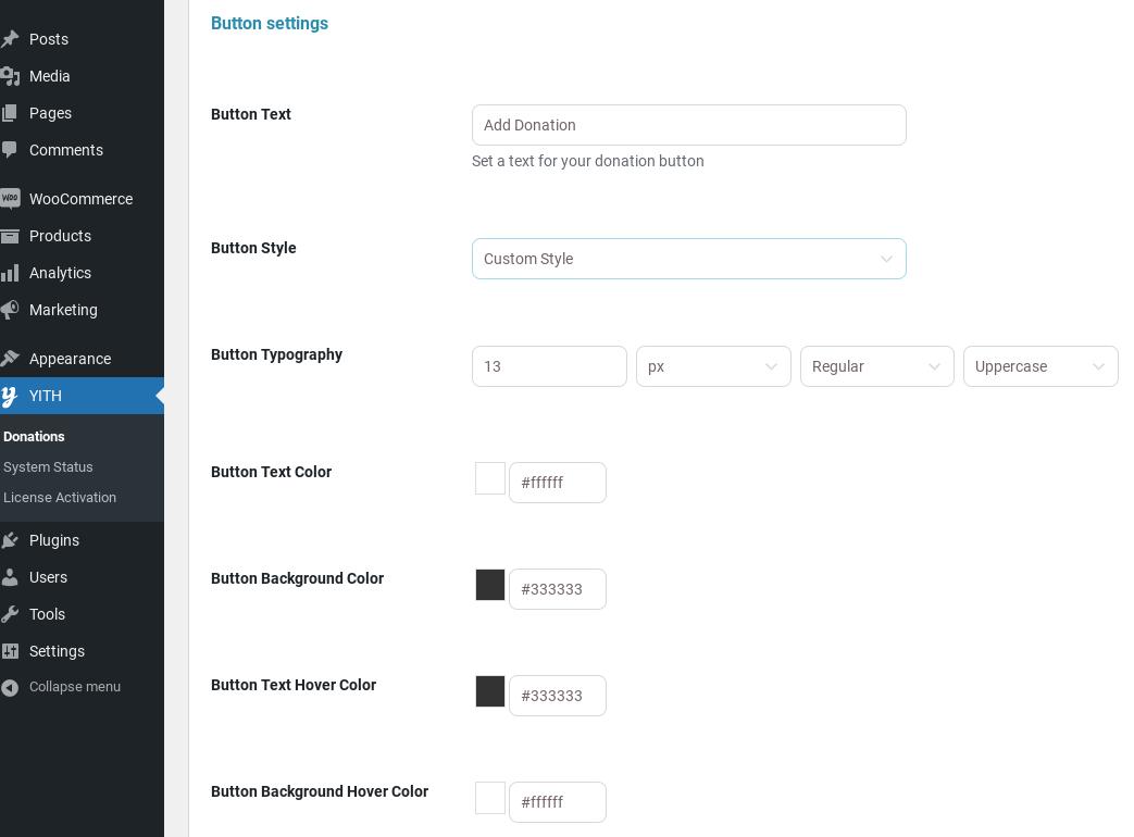 custom button settings