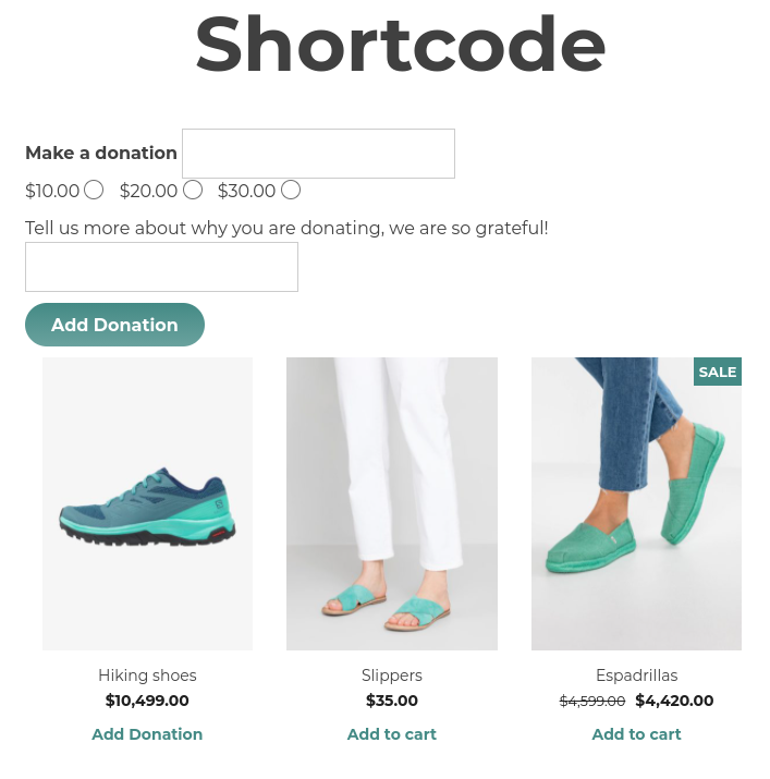 shortcode on page