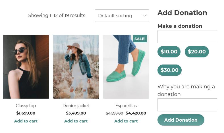 donations widget