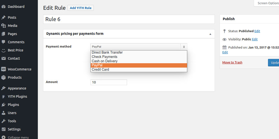 Set a payment rule