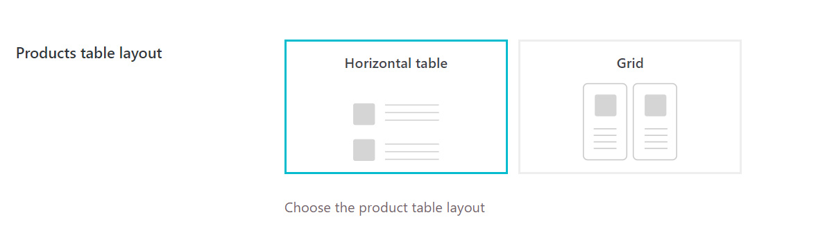 Horizontal table or grid