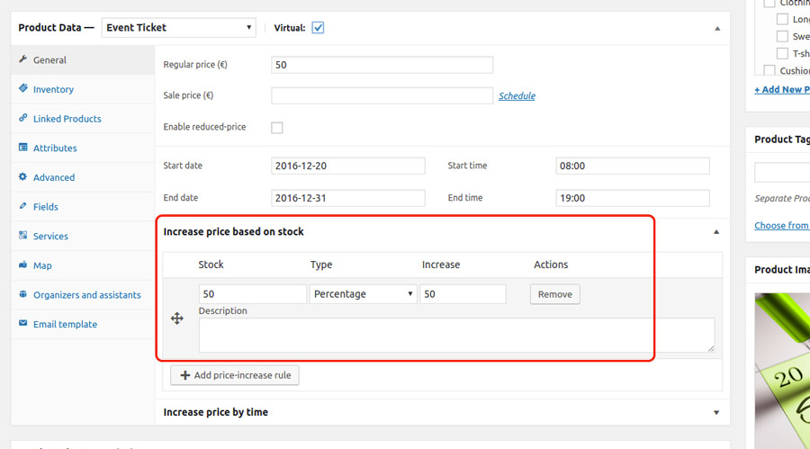 Add price-increase rule by stock quantity