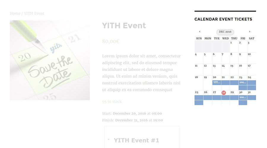 YITH Event Tickets Calendar widget