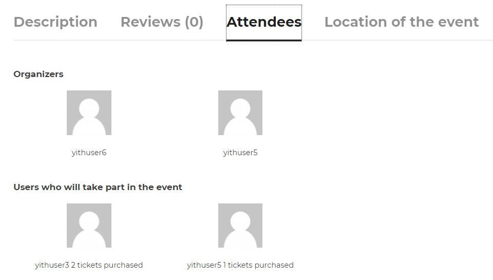 Attendees tab on event page
