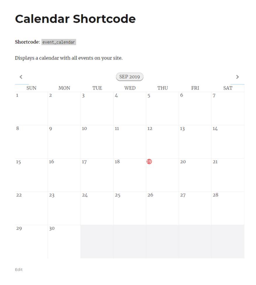 Calendar shortcode