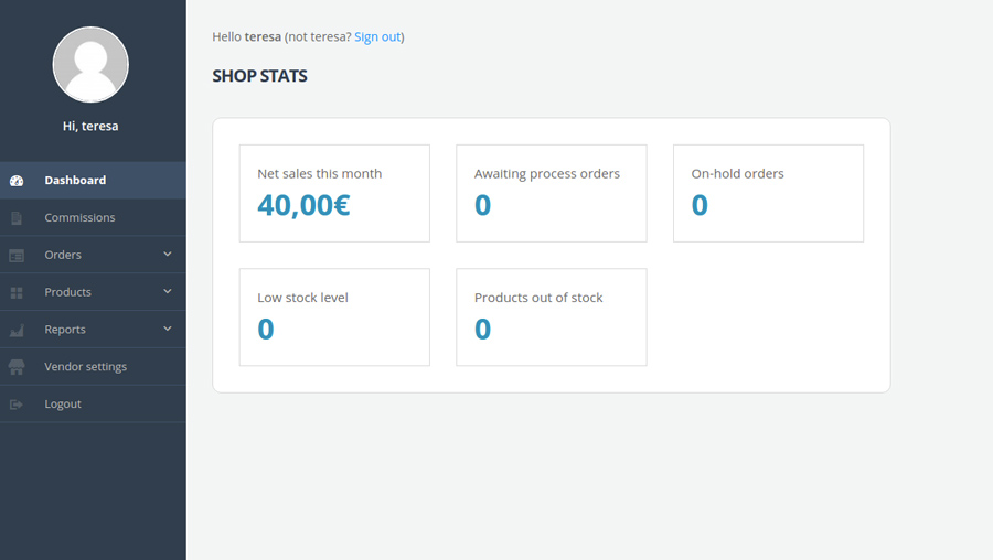 Vendor frontend dashboard