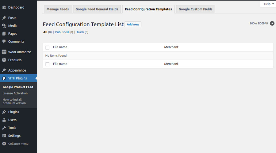 Feed configuration templates