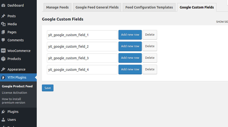 Google custom fields