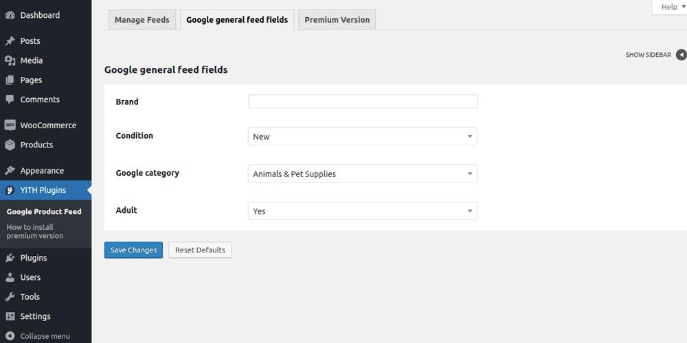 Google general fields