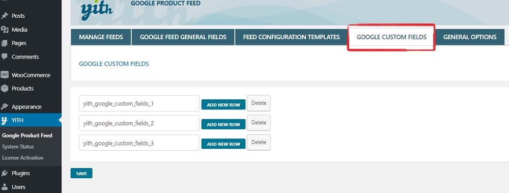 Google custom fields