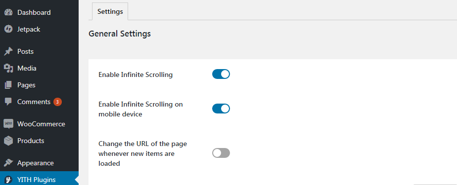 enable infinite scrolling premium