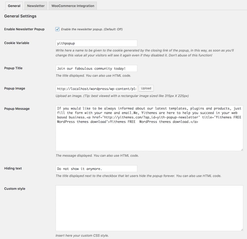 general settings newsletter popup