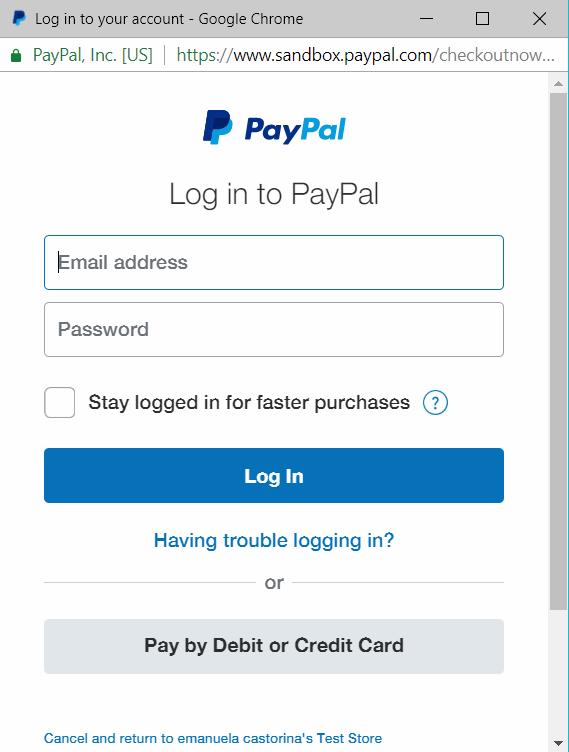 Popup di PayPal - Login