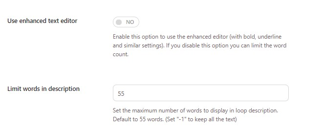 Limit words with description standard editor