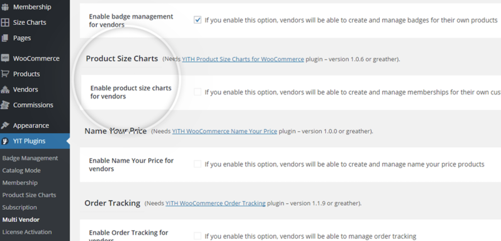 Enable size charts for vendors