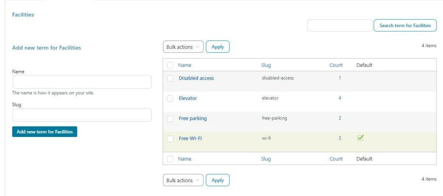 Configure terms for the filters