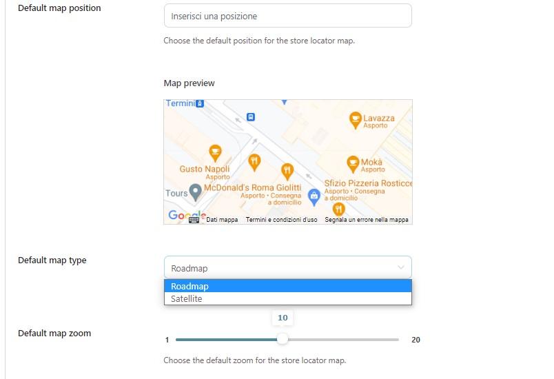 Default map settings