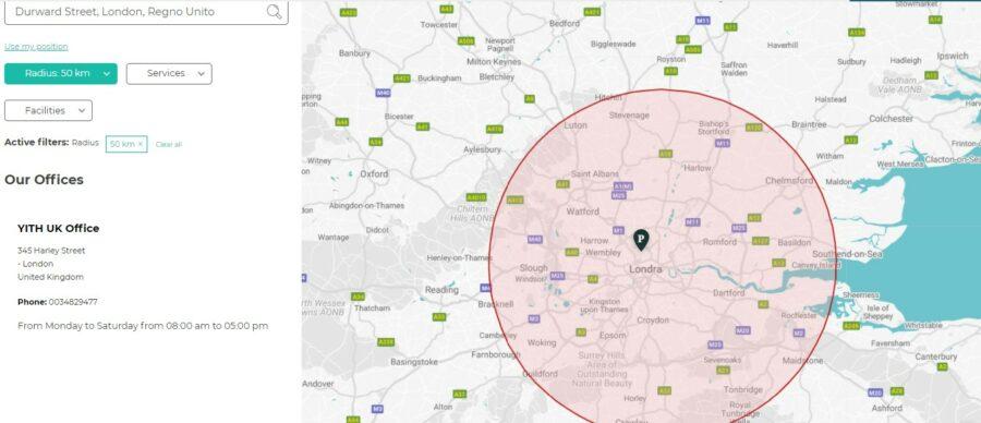 Radius circle on the map
