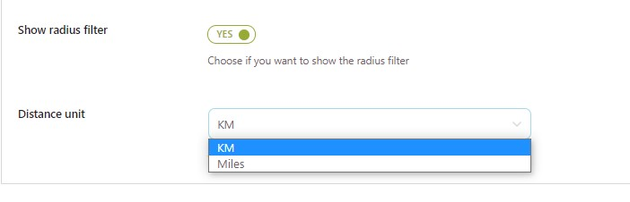 Show radius filter