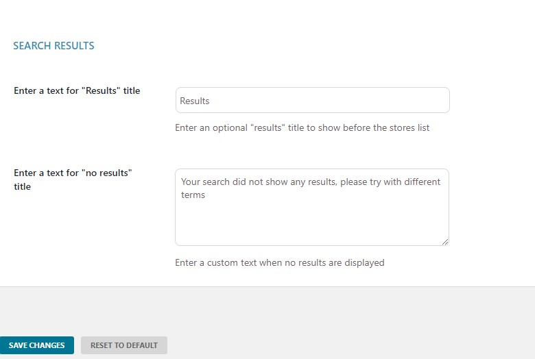 Search results options