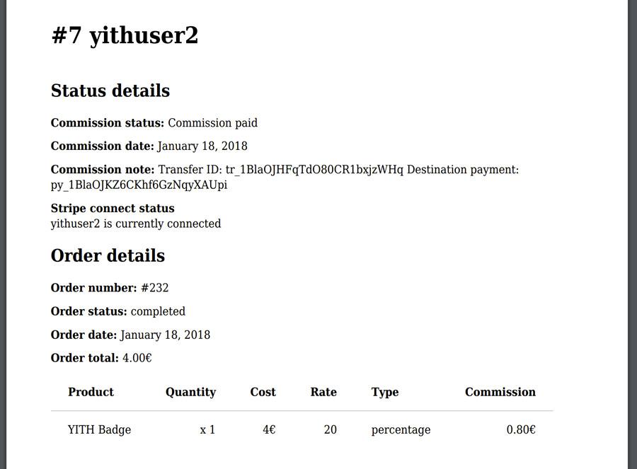 Commission status details