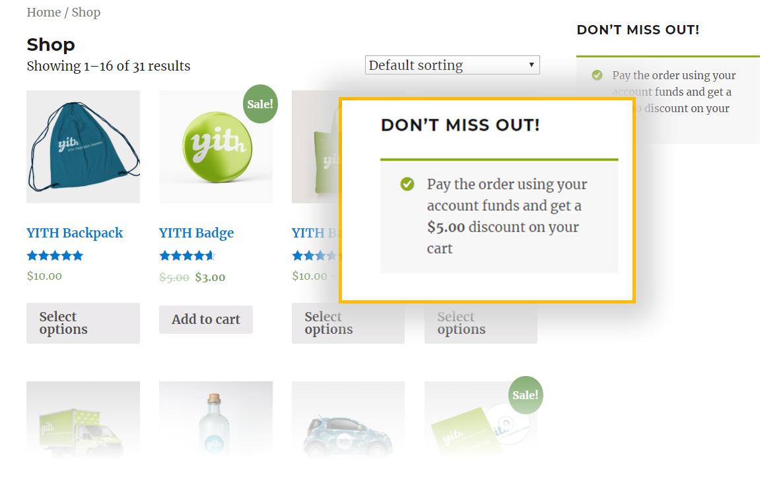 show discount message shortcode