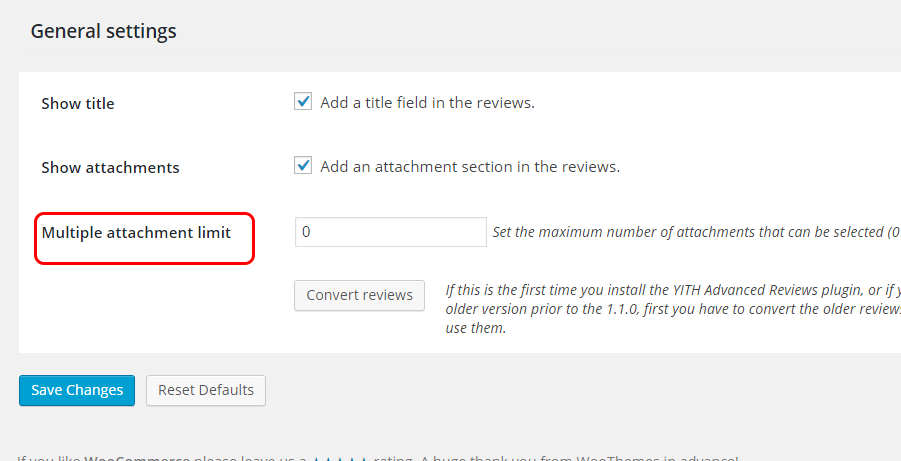 Limit on number of attachments, import reviews, convert reviews