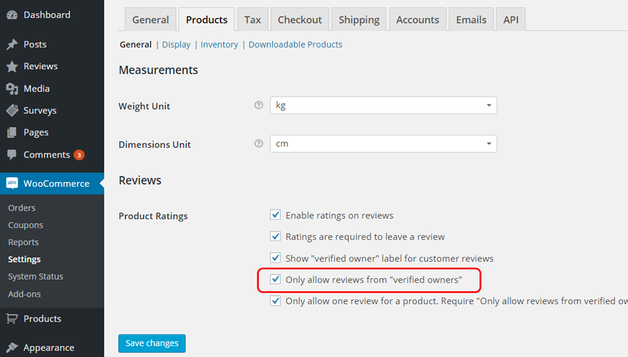 WooCommerce -> Settings -> Products