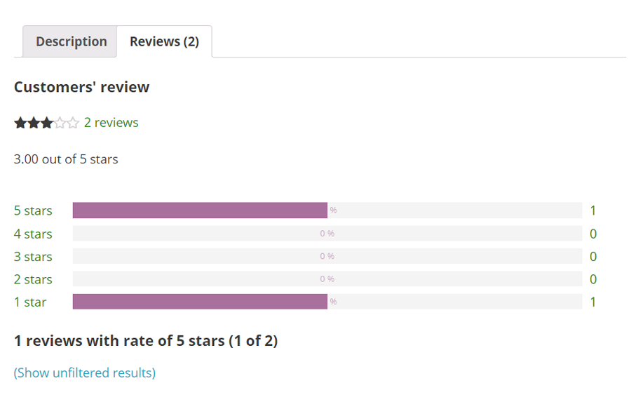 Review filter through rating