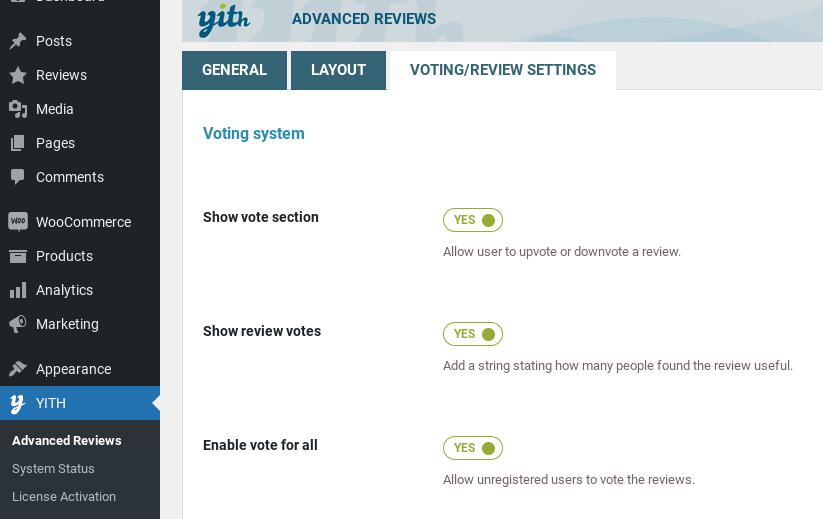 vote settings