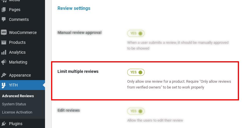 limit multiple reviews