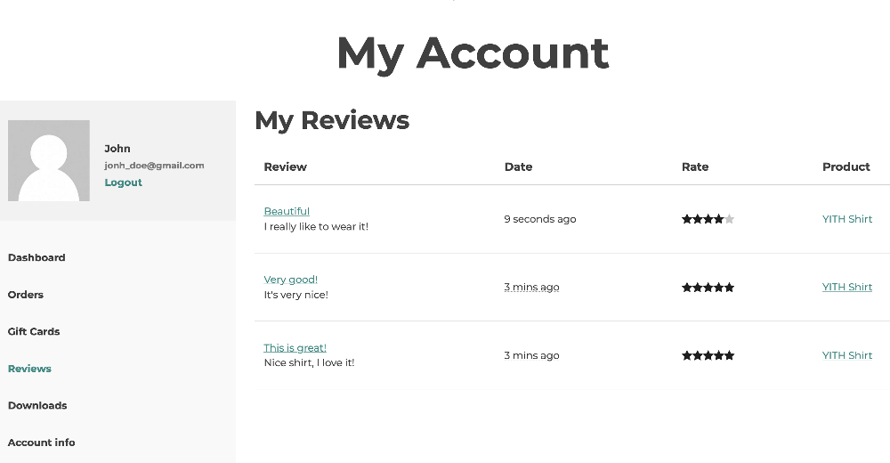 reviews in my account