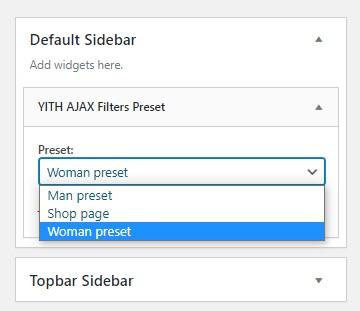 Filter preset widget