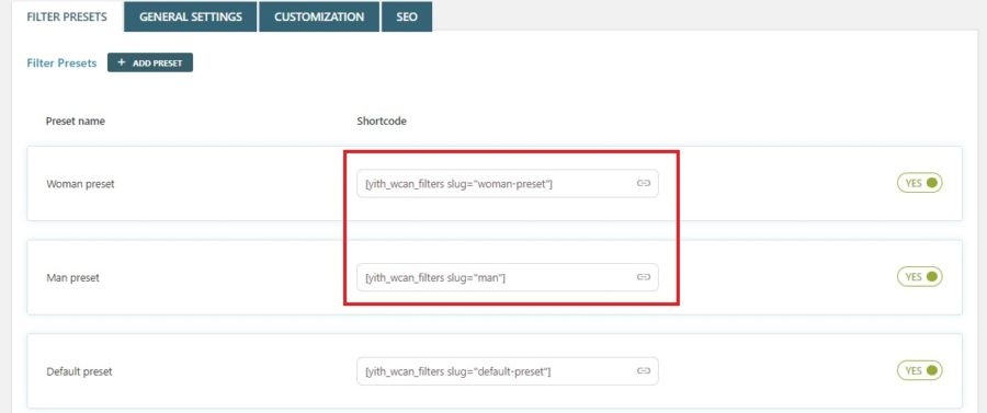 Filter preset shortcode