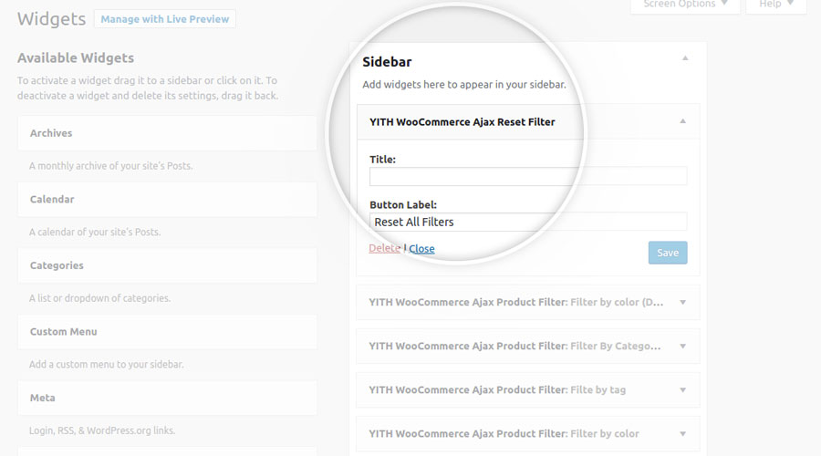 YITH Ajax Product Filter: YITH WooCommerce Ajax Reset Filter
