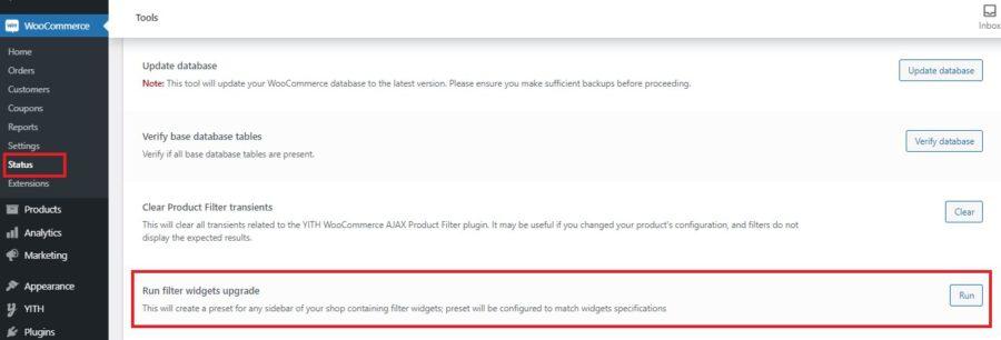 Run filter widgets upgrade