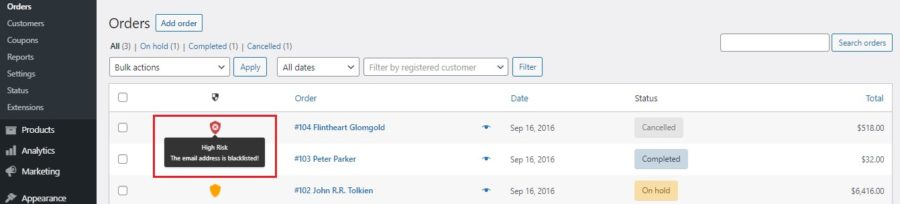 Email address in blocklist on Orders page