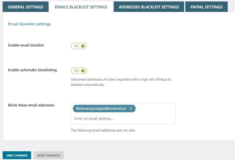 Email blacklist settings