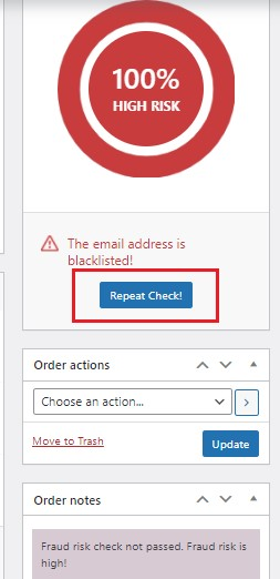 How to repeat anti-fraud check