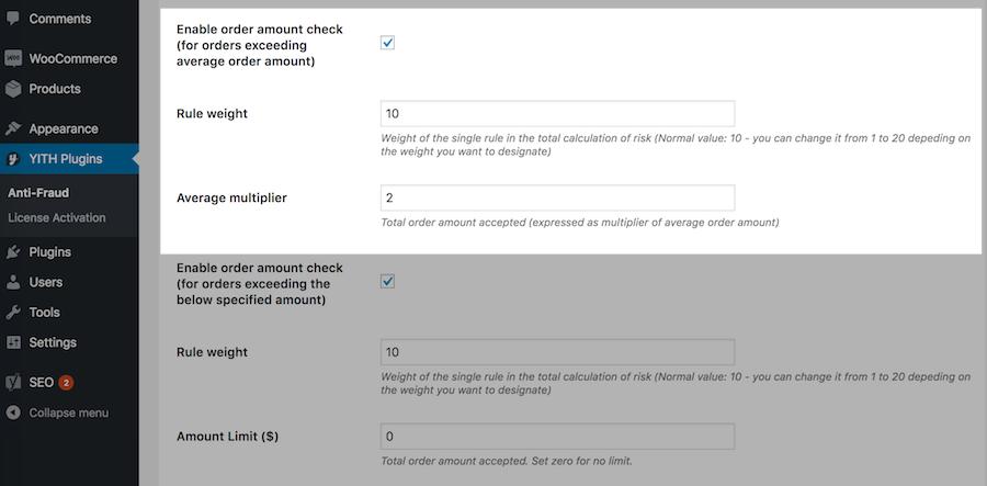 Order amount