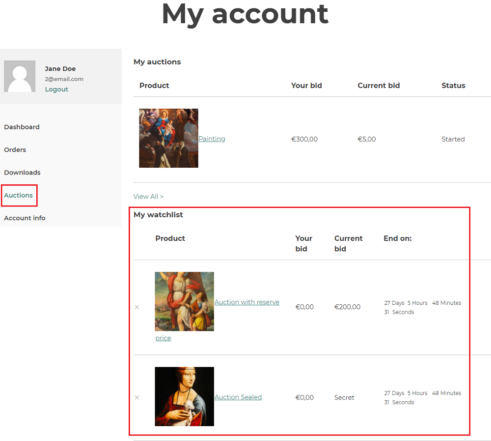 my account auctions