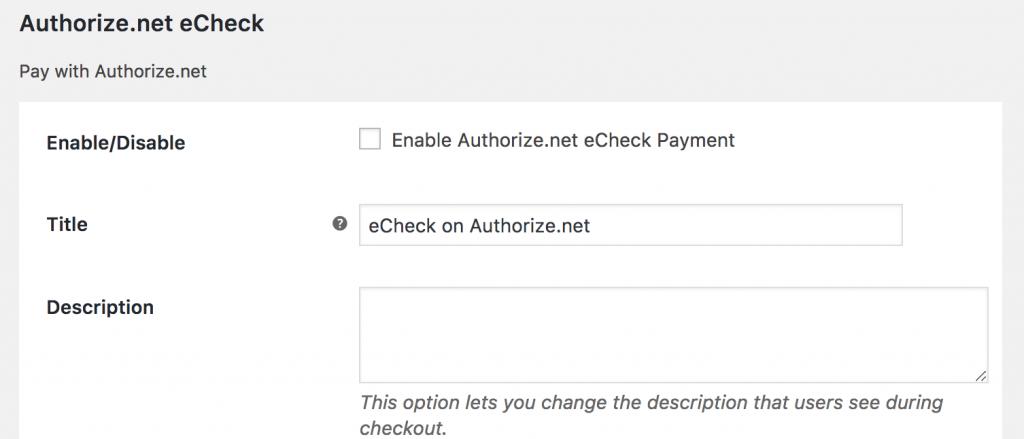 enable echeck