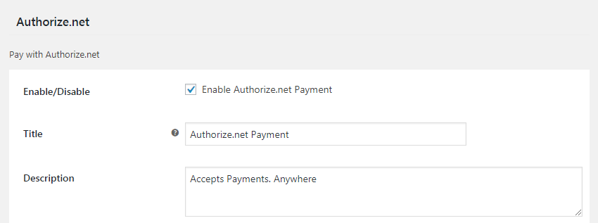 enable authorize.net