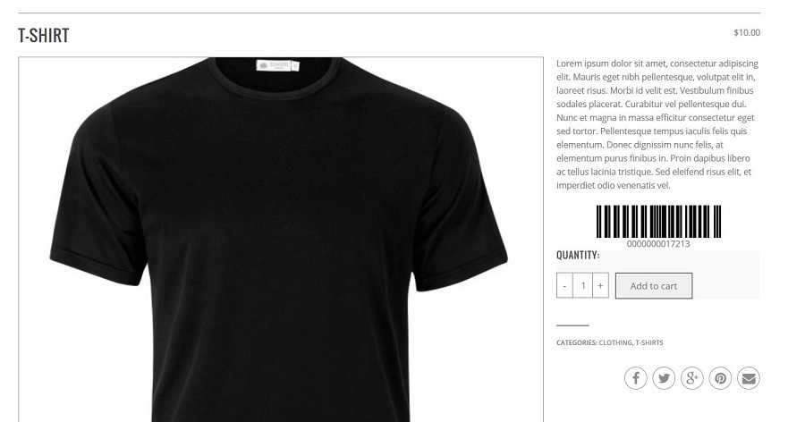 Barcode showed in the product detail page
