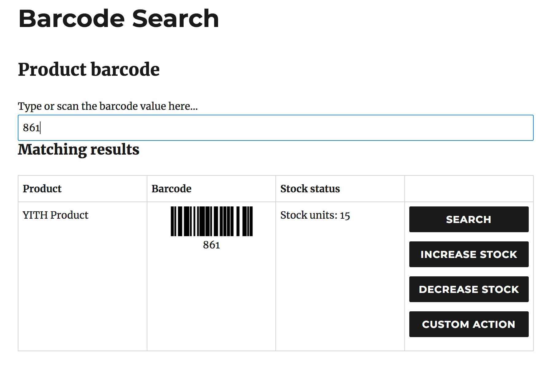 barcode increase decrease stock