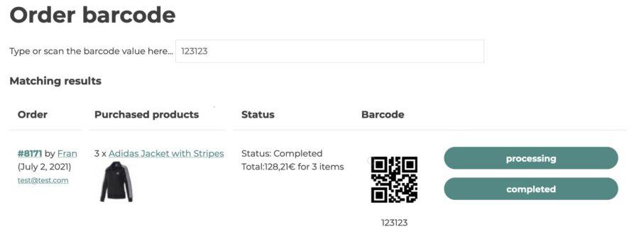 Order barcode shortcode