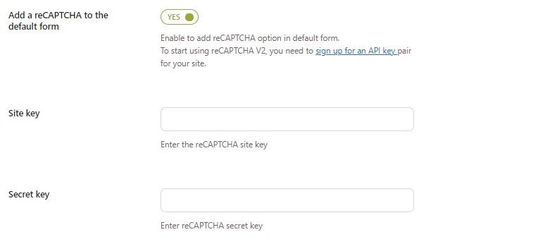 Add a reCAPTCHA to the default form